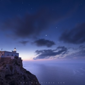 Panoramic view of a summer sunrise in the Lighthouse of L'Albir (Alicante, Spain)