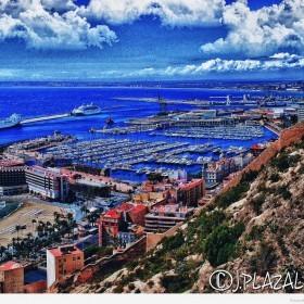 Vista puerto deportivo desde el Castillo de Santa Bárbara, 12 Alicante